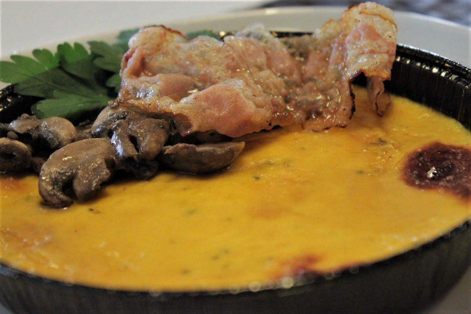 creme brulee di zucca con funghi e pancetta 1
