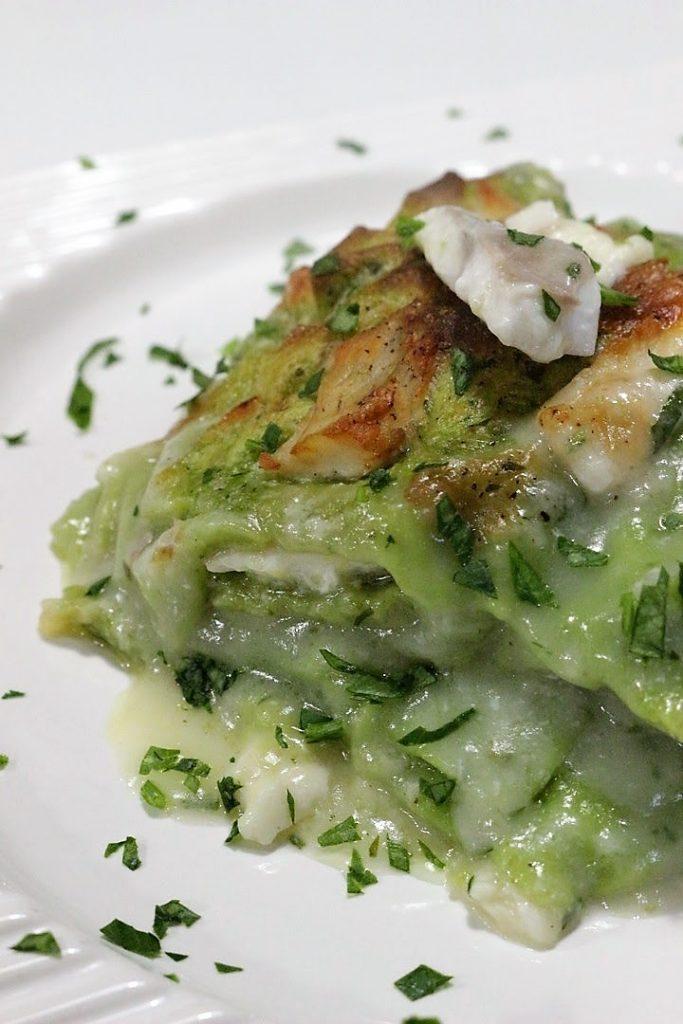 Lasagne verdi con branzino e provola affumicata