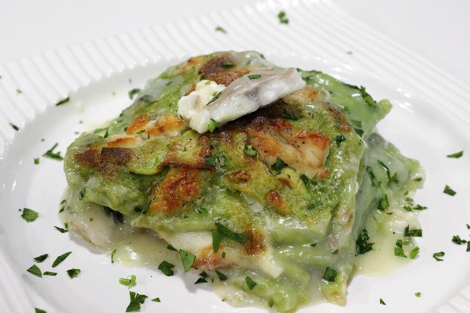 Lasagna verde con branzino e provola affumicata