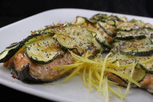 Filetto di trota salmonata al limone in crosta di zucchine 3