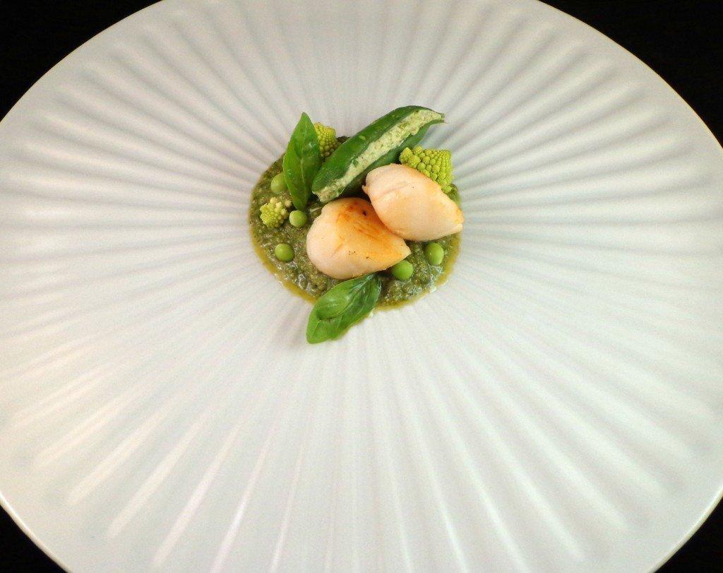 Capesante con passata di broccoli e piselli (2)