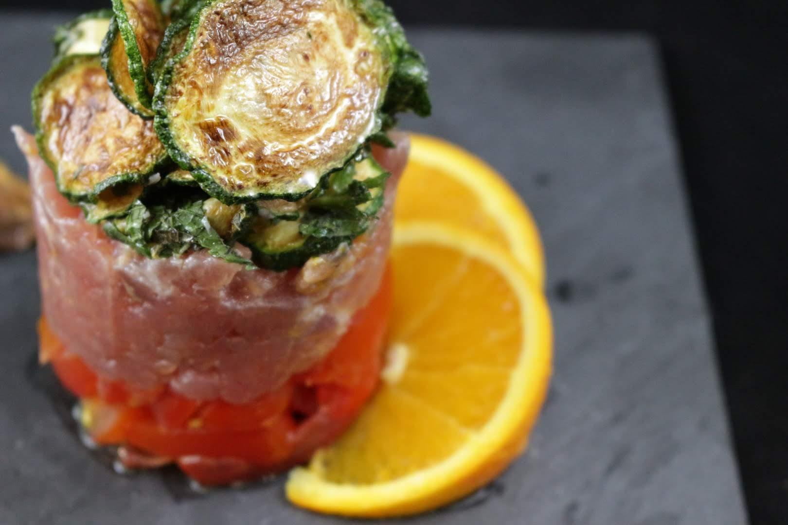 ricetta delal tartare di tonno con zucchine a scapece